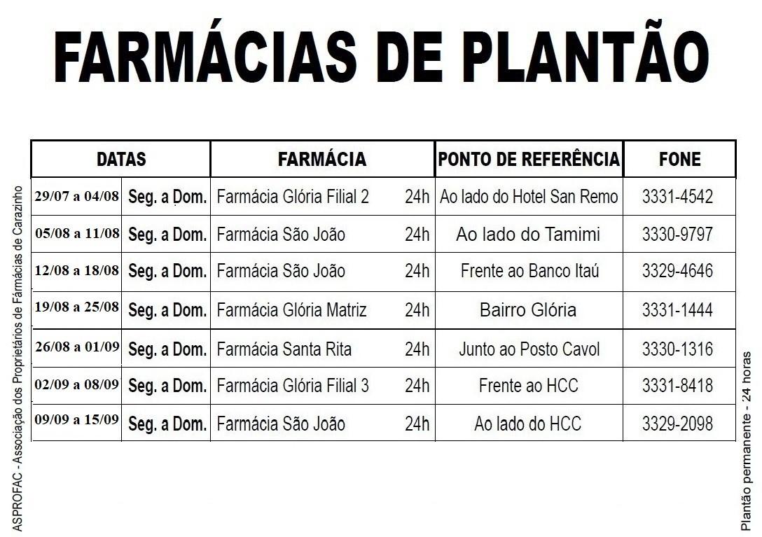 Farmacias de plantao - JULHO A SETEMBRO
